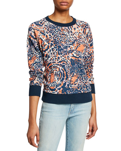 The Square Tiger-Print Sweatshirt with Contrast Trim