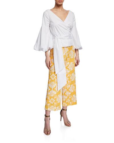 Almeria Puff-Sleeve Wrap Cotton Blouse