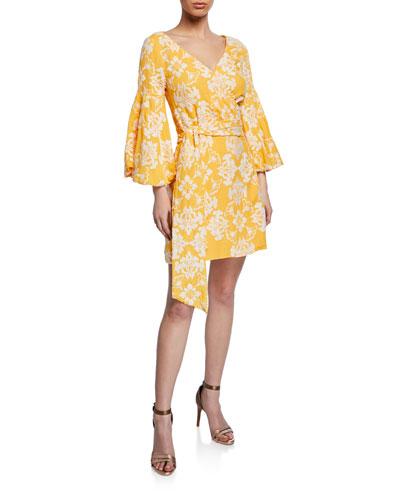 Cadiz Jacquard Puff-Sleeve Mini Wrap Dress