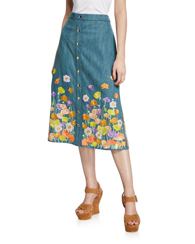 Townes Floral-Embroidered Snap-Front Cotton Midi Skirt