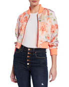 Alice + Olivia Duke Raglan-Sleeve Cropped Reversible Bomber