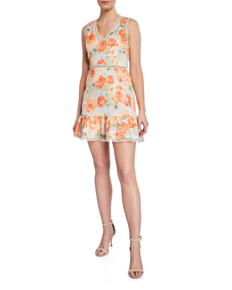 Alice + Olivia Kirean Floral Lace Trim Mini Dress