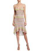 Alice + Olivia Amina Embroidered Plunging Sweetheart Fitted