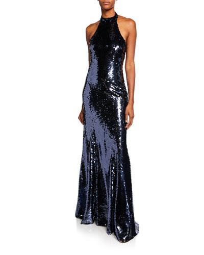 0321af7c12 Quick Look. Sachin   Babi Noir · Eva Sequin Open-Back Halter Gown