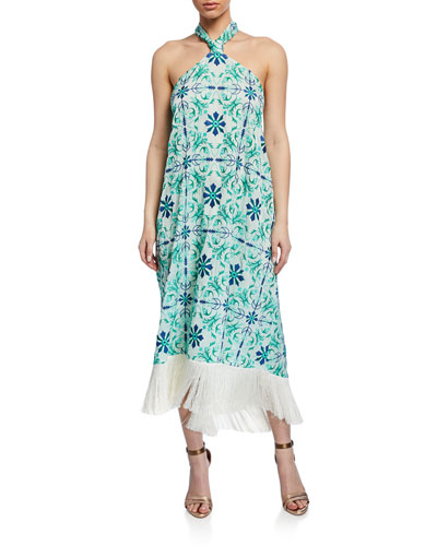 Pamplona Tile-Print Halter Fringe Midi Dress