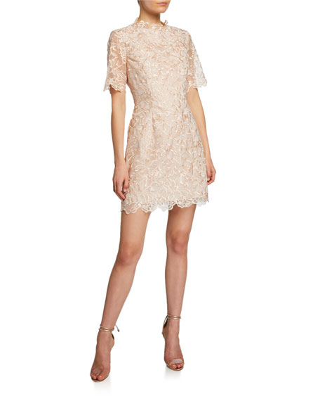 Mestiza New York Lucena Elbow-Sleeve Scallop Lace Dress