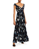 Fame and Partners Floral-Print V-Neck Cap-Sleeve A-Line Dress