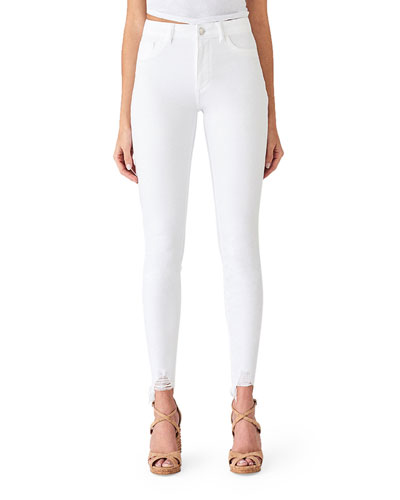Chrissy Ultra High-Rise Skinny Jeans w/ Shredded Hem