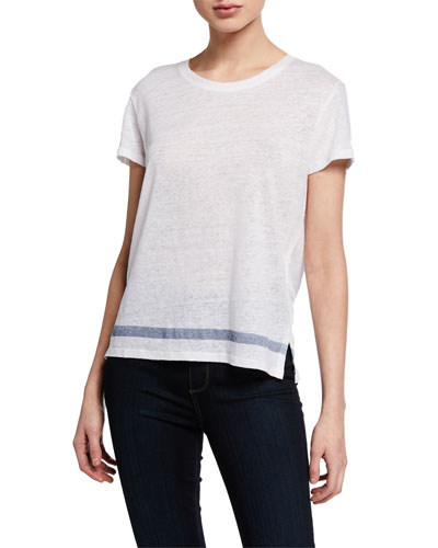 Linen Short-Sleeve Crewneck Tee with Stripe