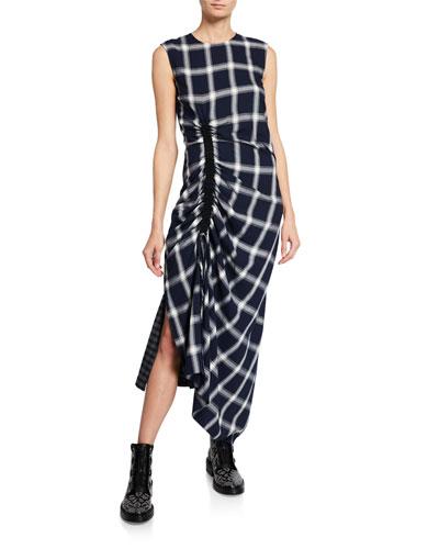 Wool-Blend Checked Draped Drawstring Dress