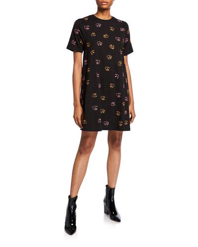 Dove-Print Babydoll Dress