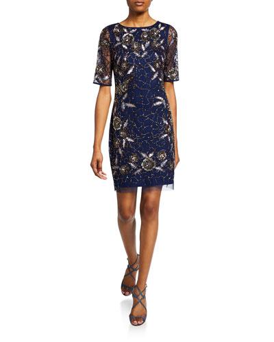 Beaded Bateau-Neck Short-Sleeve Cocktail Dress