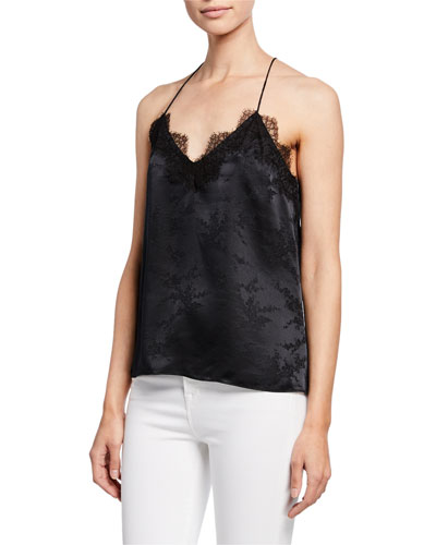 The Racer Jacquard Cami with Lace