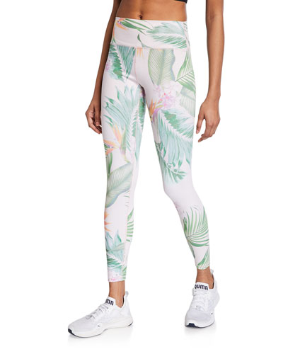 Tropical Leaf-Print Perfect High-Waist Leggings