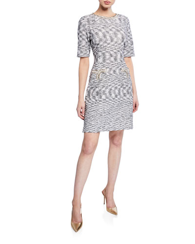 Half-Sleeve Tweed Sheath Dress