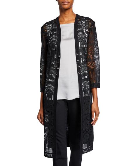 Misook Lace-Panel Long Duster Jacket