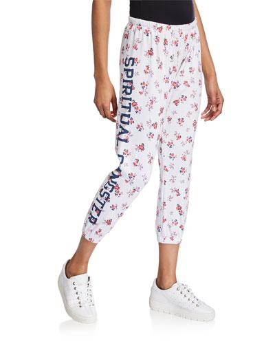 SGV Logo Floral-Print Perfect Sweatpants