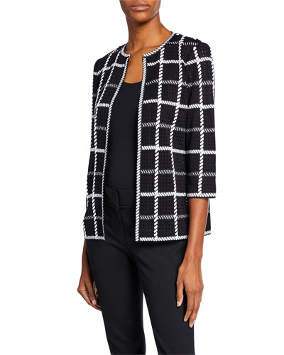 Plus Size 3/4-Sleeve Loop Stitch Checkered Jacket