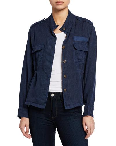 Sahara Linen Button-Front Utility Jacket