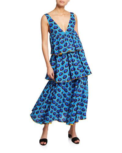 Leela Tiered Long Chanderi Dress