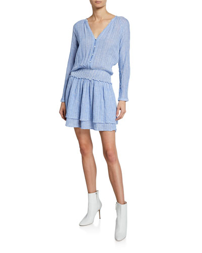 Jasmine Striped V-Neck Long-Sleeve Tiered Mini Dress