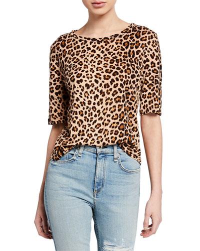 Short-Sleeve Linen Leopard-Print Tee