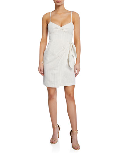 Sleeveless Pinstripe Tie-Front Dress