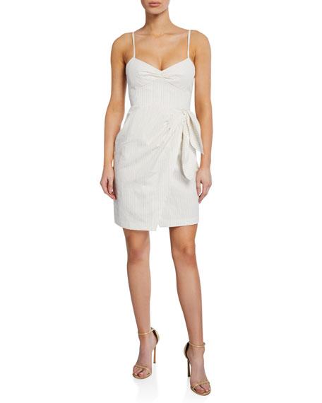 Rebecca Taylor Sleeveless Pinstripe Tie-Front Dress