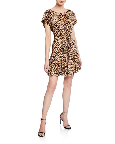 d4b0170f81 Quick Look. Rebecca Taylor · Tie-Front Linen Leopard-Print Short Dress