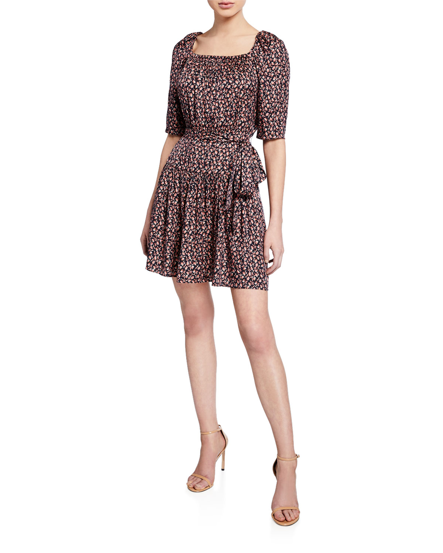 Rebecca Taylor Dresses FRANCESCA FLORAL SQUARE-NECK SHORT DRESS