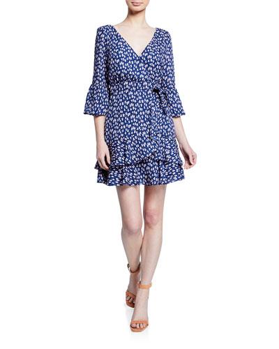 Casimira Floral-Print Flounce Dress
