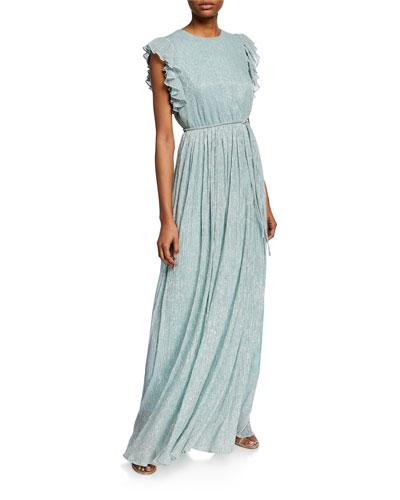 Samantha Crinkle Metallic Gown