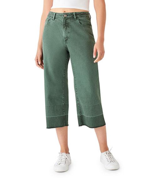 DL1961 Premium Denim Hepburn Crop High-Rise Wide-Leg Jeans with Released Hem