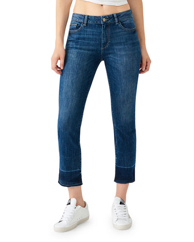 Mara Ankle Mid-Rise Straight Jeans w/ Released Hem
