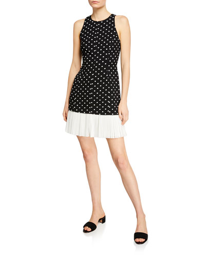 Catriona Dotted Crepe Dress w/ Pleated Hem