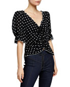 cinq a sept Kimberly Dot-Print Ruched Short-Sleeve Top