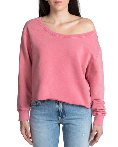 Off-the-Shoulder Long-Sleeve Cotton Pullover