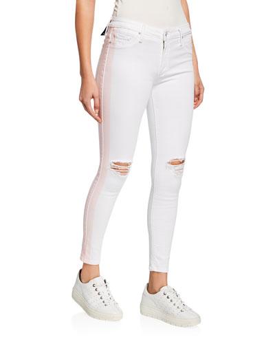 Jude Crop Mid-Rise Jeans w/ Tuxedo Stripes