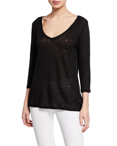 af81da65f761f Quick Look. Majestic Paris for Neiman Marcus · Linen 3 4-Sleeve V-Neck  Swing Top