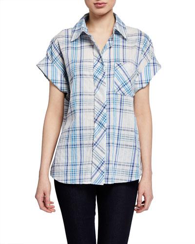 Lindy Newport Plaid Short-Sleeve Top