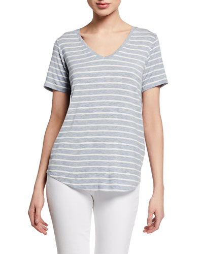 Extrafine Striped V-Neck Tee