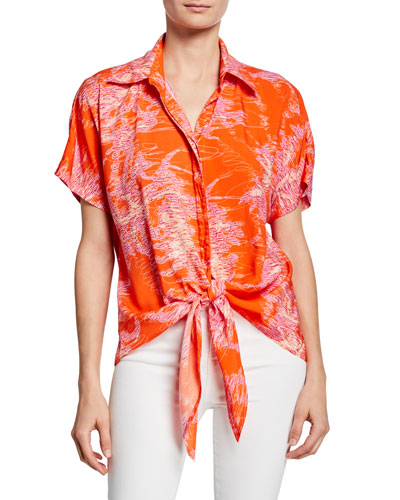 Lindy Printed Button-Front Short-Sleeve Tie-Hem Top