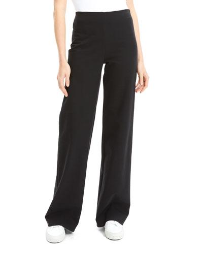 Wide-Leg Cotton Ponte Pants
