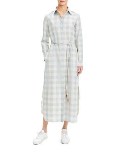 Plaid Waist-Tie Button Down Ankle Shirtdress