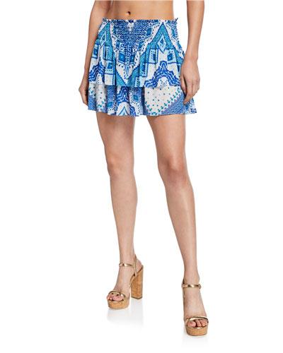 Sibyl Printed Smocked Short Skirt