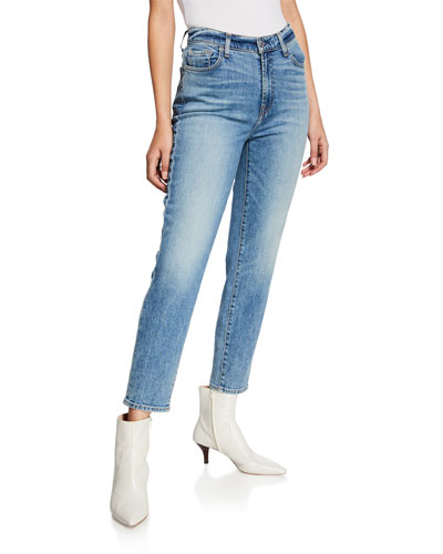 High-Waist Slim Cropped Denim Jeans