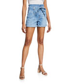 7 for all mankind Belted Paperbag Waist Denim