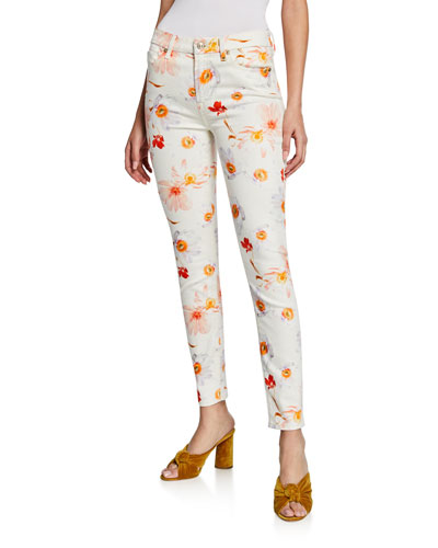 Mid-Rise Floral-Print Ankle Skinny Jeans