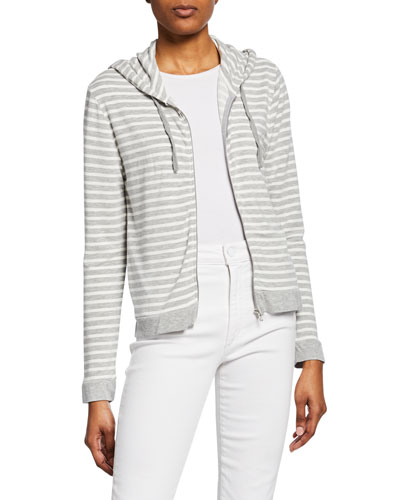 Striped Zip-Up French-Terry Hoodie