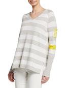 Lisa Todd Petite Beach Stripe V-Neck Raglan-Sleeve Sweater